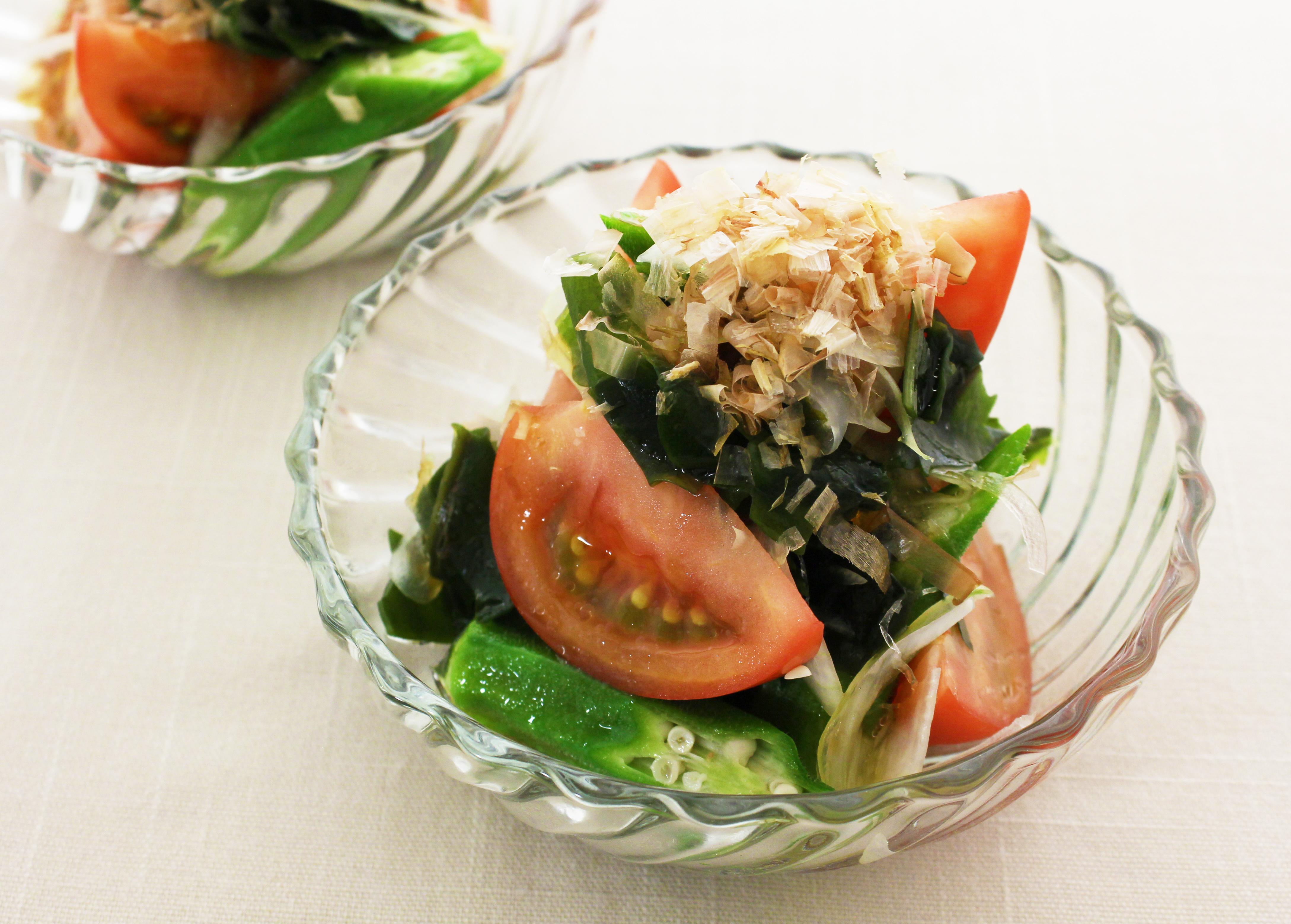 トマトとオクラの和風サラダ