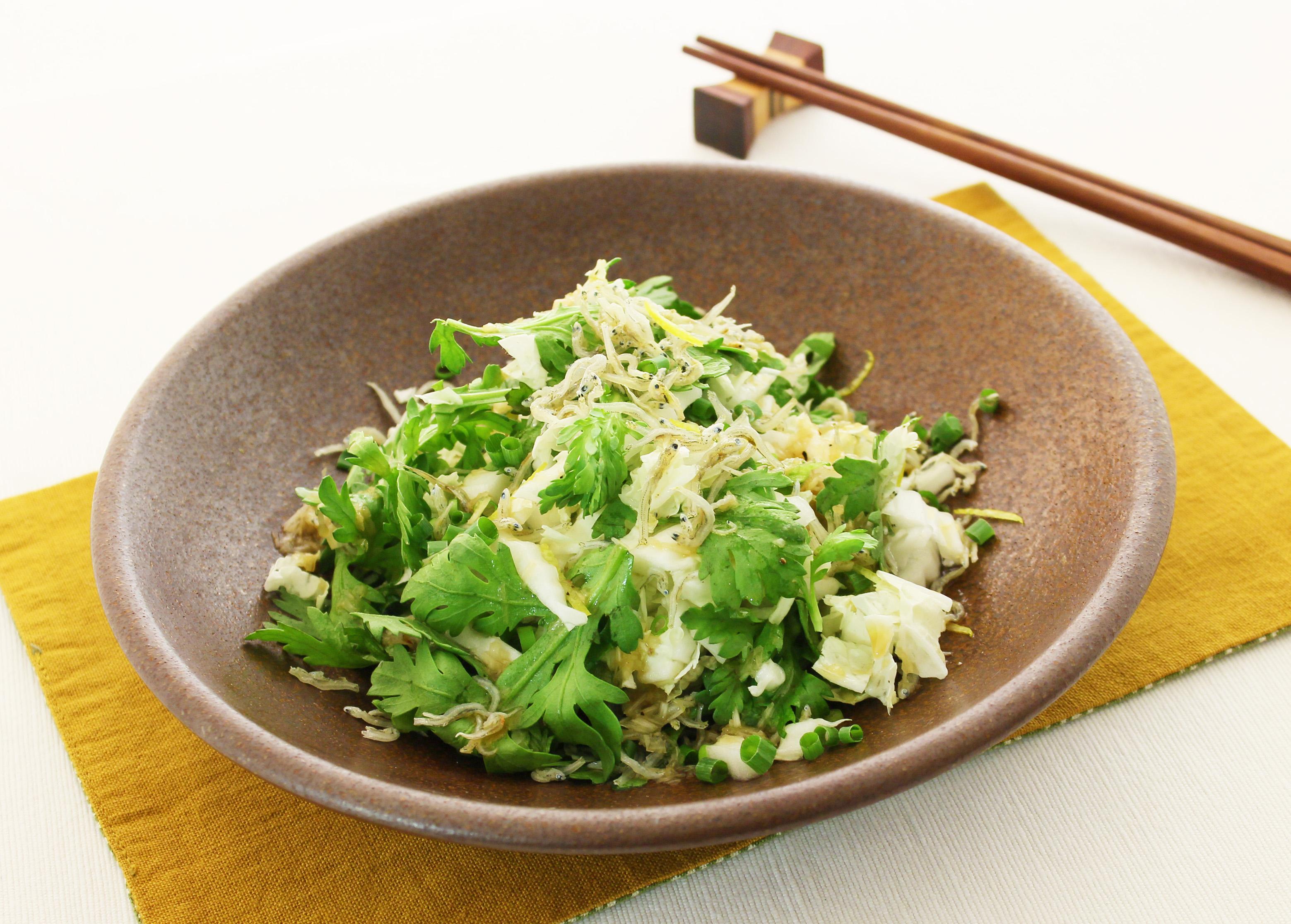 白菜と春菊のじゃこサラダ