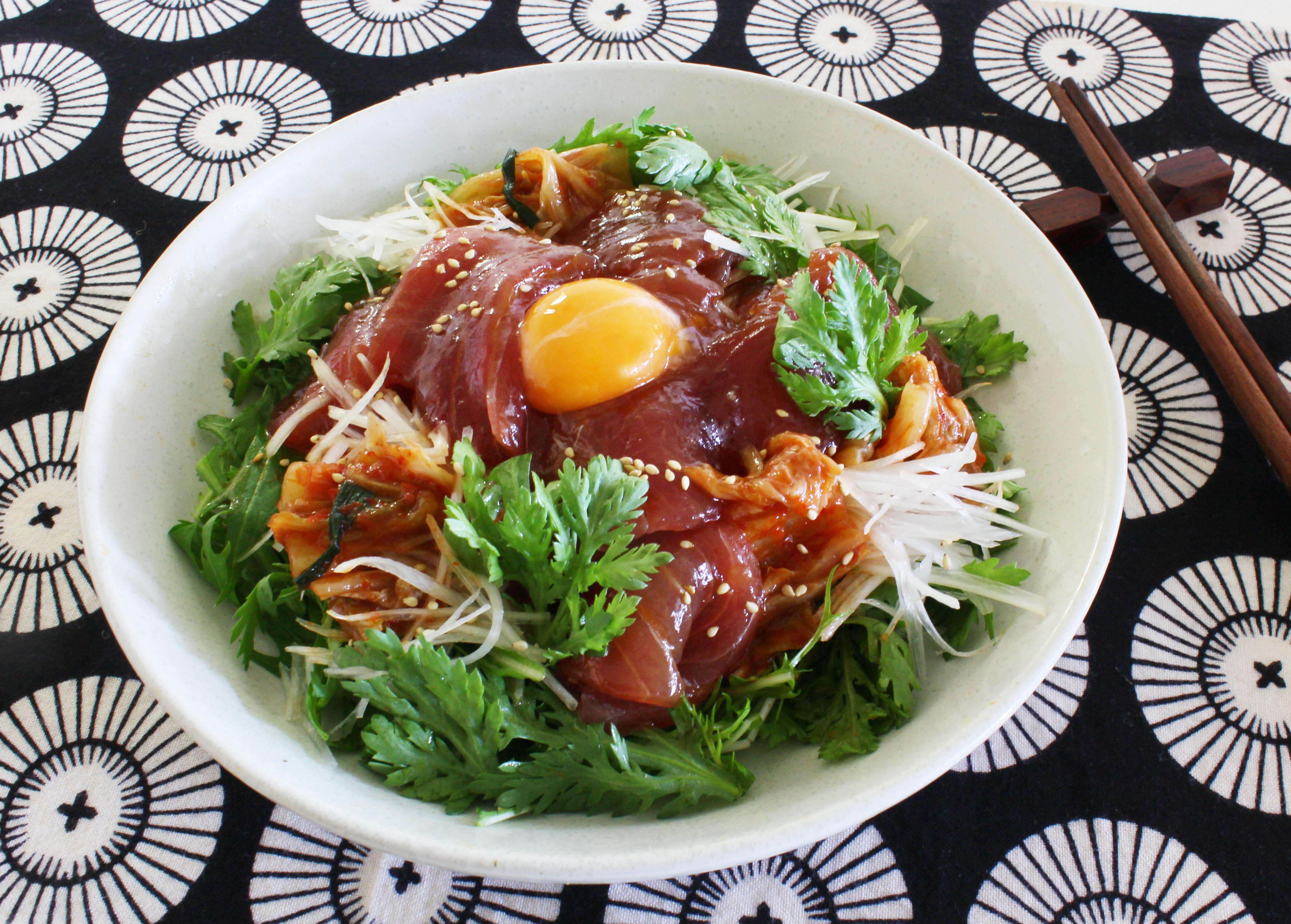 ピリ辛づけまぐろの韓国風サラダ