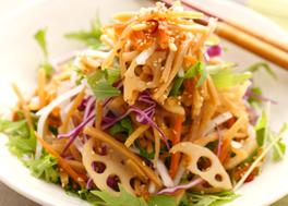 金平れんこんと生野菜のサラダ