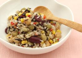 食物繊維がとれる!ひじきと豆と玄米のサラダ