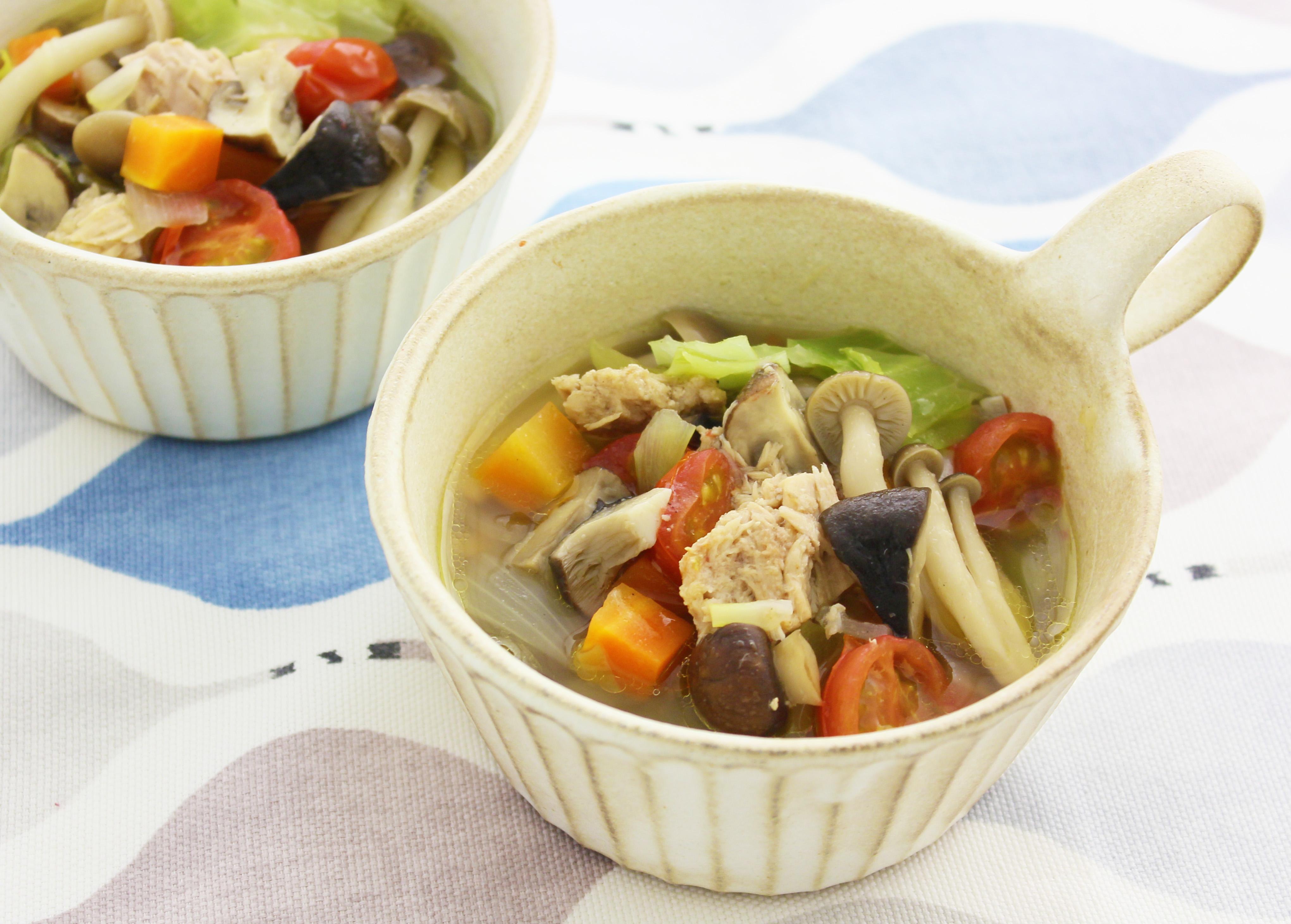 ツナときのこと野菜のスープ煮込み